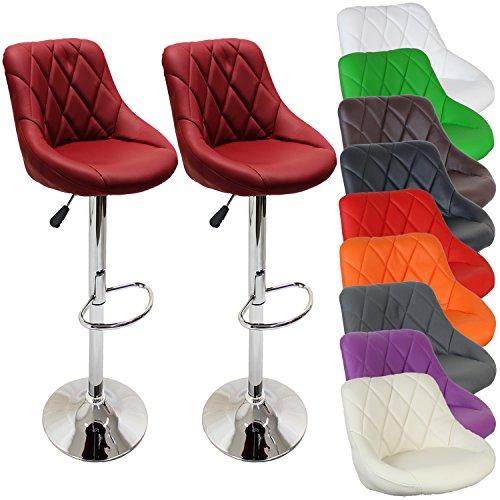 2er Set Barhocker Barstuhl 10 Farben w�hlbar, 360� frei drehbar, Sitzh�henverstellung 60-80cm (weinrot)