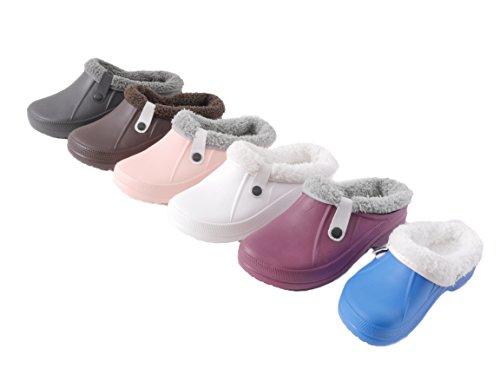 Damen Herren Kinder Clogs Pantoffel Schuhe Gartenschuhe Hausschuhe Unisex gef�ttert - Farben: Wei� - Gr��e: 39