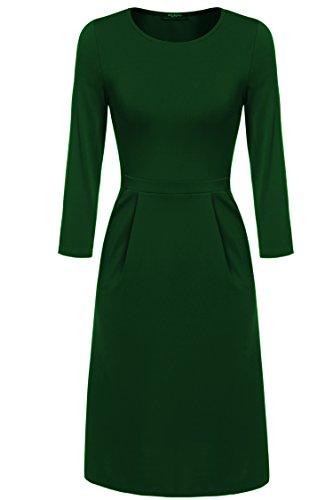 Zeagoo Damen Casual Kleid Etuikleid Langarmkleid A-Linie Kleid (EU 38(Herstellergr��e:M), Dubkelgruen)
