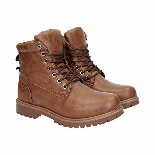 Herren Outdoor Stiefel | Working Stiefeletten im bequemen und modernen Design | Wander Schn�r Boots Schuhe mit Profilsohle | Gr. 40 bis 45 | Japanolo | Camel EU 42