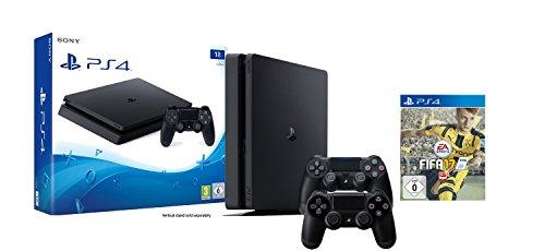 PlayStation 4 - Konsole (1TB, schwarz, slim) FIFA 17 Bundle inkl. 2 Controller