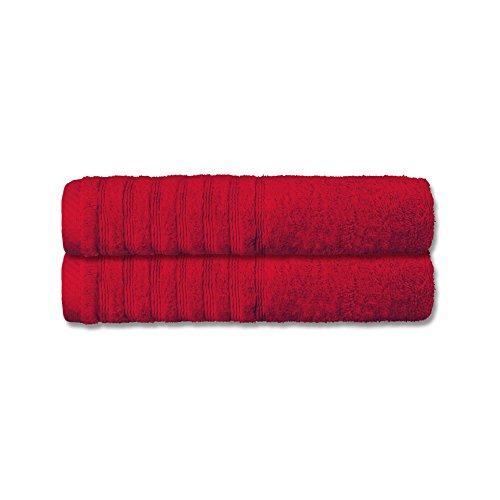 Handtuch-Set 2 tlg. | 16 moderne Farben und viele Gr��en | 100% flauschige Baumwolle Frottee Qualit�t ca. 570g/m� | Doppelpack Gr��e 50 x 100 cm | Serie Pisa | CelinaTex 0002875 | rot