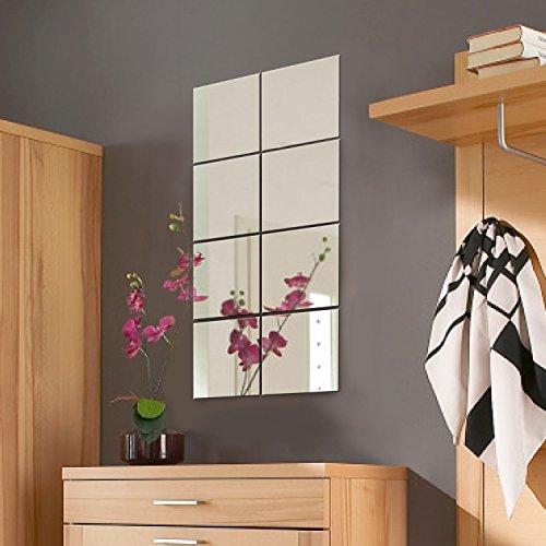 8 St�ck Spiegelfliesen Spiegelkachel Fliesenspiegel Spiegel je 20,5x20,5cm Wanddekoration Wandspiegel