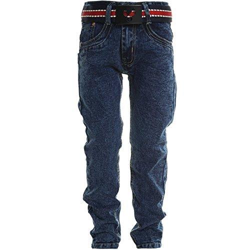 Kinder Jungen Jeans Stretch R�hren Jeans Hose Mit G�rtel 20625, Farbe:Blau;Gr��e:152