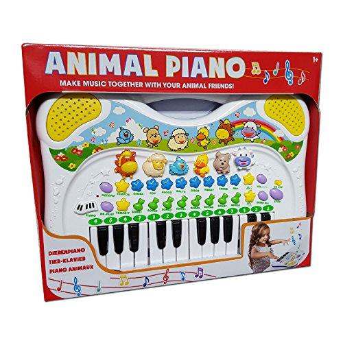 DJ Toys Kinder Keyboard MF Musikinstrument mit Tierstimmen Melodien Aufnahmefunktion