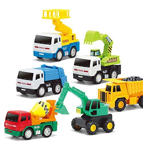 UBenZ Kinder 6 Stile Mini-Modellautos Kunststoff Pull-Back Fahrzeuge Lastwagen Set Lernspielzeug Geschenk f�r Kind Jungen (Baggerlader , Bagger, Kehrmaschinen, Mischer, Zement-Lastwagen, Gabelstaplern)