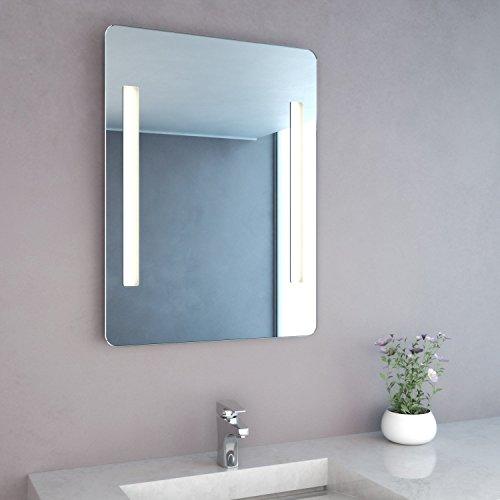 NEG Badspiegel MITRA 80x60cm (HxB) Spiegel (abgerundet) mit integrierter und energiesparender LED-Beleuchtung (warmwei� 3000 Kelvin) IP44