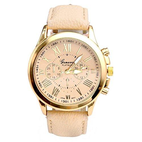 JS Direct Uhren,Elegant Damen Candy R�misch Ziffern Chronograph Armbanduhr,Kunstleder Band Analog Qaurzuhr,Mit DE Flagge Armband (Beige)
