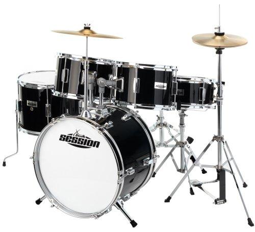 XDrum Junior Pro Kinder Schlagzeug Drumset (geeignet von 5-9 Jahren, mit viel Zubeh�r, Schule, DVD) schwarz