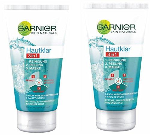 GARNIER Hautklar 3in1 Gesichtsreinigung + Peeling + Gesichtsmaske / Gesichtspflege gegen Pickel und Unreinheiten, 2x 150 ml (2er Pack)