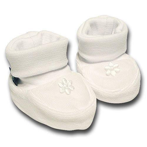 pantau.eu Babyschuhe, Erstlingsschuhe, Babysch�hchen Nicki 0-3 Monate, Wei�, kleine Blume Wei�