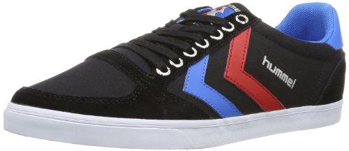 hummel HUMMEL SLIMMER STADIL LOW, Unisex-Erwachsene Sneakers, Schwarz (Black/Blue/Red/Gum), 44 EU (9.5 Erwachsene UK)