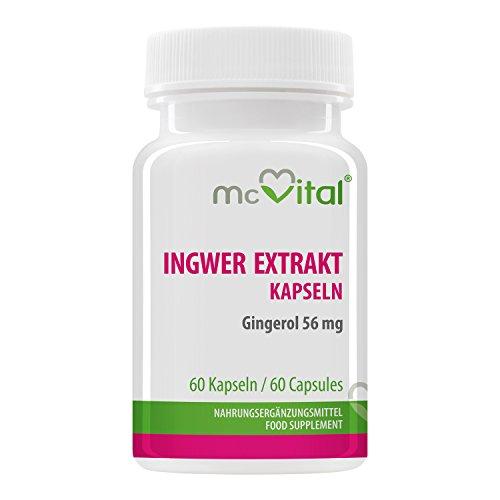 Ingwer Extrakt kapseln - 20% Gingerol = 56 mg - Immunschutz - Magen-Darmgesundheit - Mehr sexuelle Lust - Gegen Reise�belkeit und Nausea - 60 Kapseln