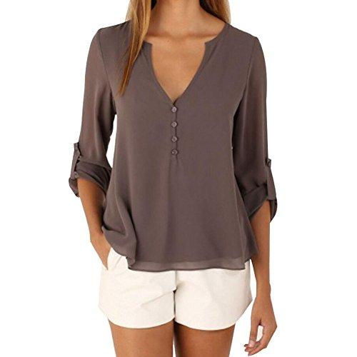 Evishine Damen Blusen Sommer Casual V-Ausschnitt Langarm Lose Chiffon Blusen T-Shirt Tops (EU44(Herstellergr��e:3XL), Dunkel khaki)
