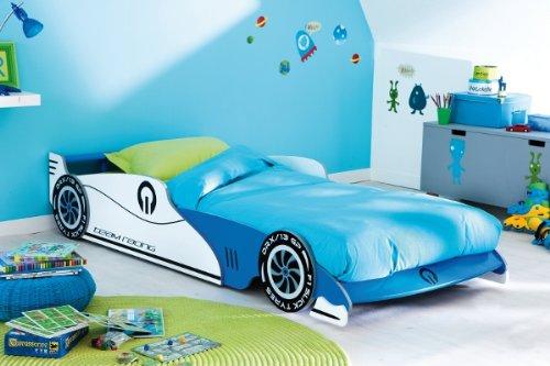 Demeyere 203893 Ausziehbares Autobett GRAND PRIX 90 x 190/200 cm, 101,5 x 40,5 x 209 cm, blau und wei�