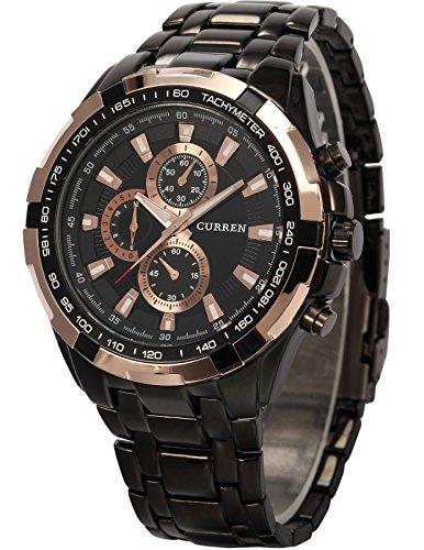 AMPM24 goldene Ring Herren Uhr Analog Quarzuhr Edelstahl schwarz Armbanduhr