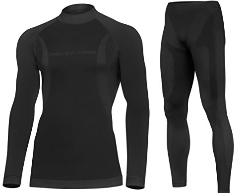 DRYTECH Herren Funktionsunterw�sche SET Thermoaktiv Atmungsaktiv Skiunterw�sche Motorradunterw�sche Laufbekleidung Ski Motorrad Outdoor (schwarz, XL)