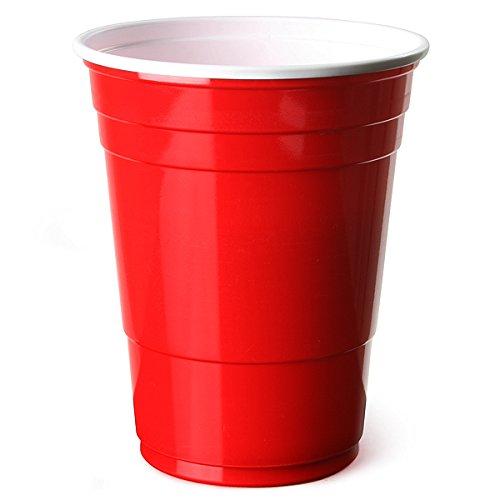Trinkbecher Rot amerikanische Beer Pong PartyBecher 16 Unzen 455ml - 50er Pack - bar@drinkstuff SEHR STARK Rote Becher - Rubinrot, Apfelrot, Plastikbecher - Einwegbecher, Partyartikel, Partyzubeh�r