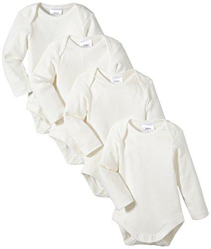 Twins Unisex Baby - Langarm-Body aus Bio Baumwolle im 4er Pack, Einfarbig, Gr. 80, Off White (snow white)