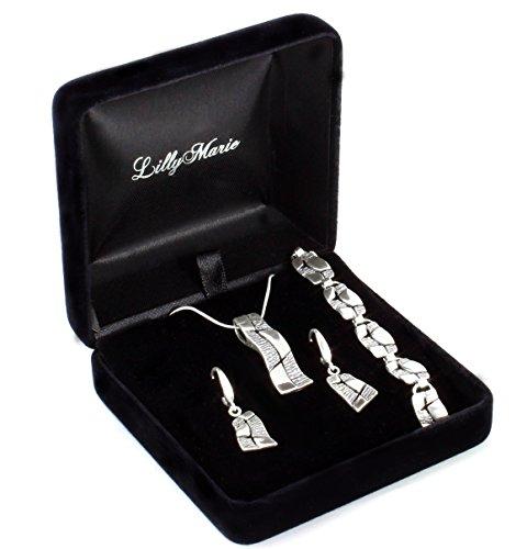 LillyMarie Damen-Schmuckset aus oxidiertem 925 Silber, in Handarbeit gefertigt, mit Schmuckbox