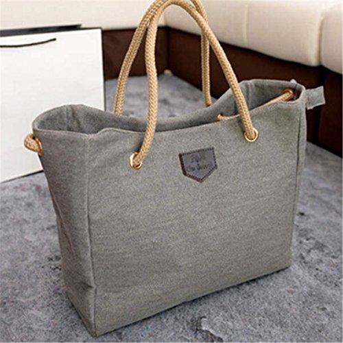 EJY Frauen Weinlese Beutel Schulter Beutel Segeltuch Handtasche Large Bag (Hellgrau)