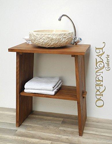 Waschtisch Waschbeckenunterschrank Tisch Badm�bel Badezimmerm�bel Teakholz Hellbraun
