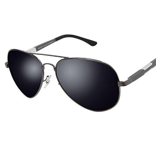 Duco Unisex Aviator Stil Polarisiert Sonnenbrille, Pilotenbrille mit Federscharnier, Etui und Putztuch, 3026 (Gestell: Gunmetal, Gl�ser: Grau)