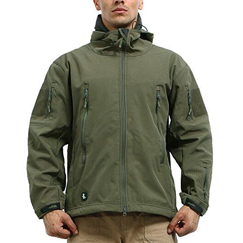 Reebow Gear Militaer Taktische Softshell Jacke outdoor Fleece Kapuzenjacke Army Gruen M