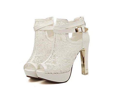 Damen Peep Toe Pumps Stiletto Sling Sandale mit Riemchen Sohle aus Metall Wei� Schwarz (38, Wei�)