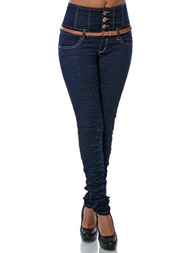 Damen Jeans Hose Skinny (Hochschnitt R�hre G�rtel weitere Farben) No 14083, Farbe:Blau;Gr��e:38 / M