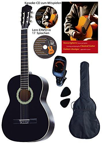 Konzertgitarren-Set, schwarz, Lern DVD, Karaoke CD, Songbook, gepolsterte Tasche, Plectren, Fichte, Rosenholz, Stimmger�t