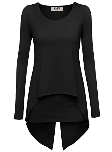 DJT Damen Langarmshirt Rundkragen Asymmetrisch Faux Twinset T-Shirt Schwarz M