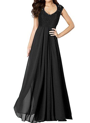 Miusol Damen Aermellos V-Ausschnitt Spitzenkleid Brautjungfer Cocktailkleid Chiffon Faltenrock Langes Kleid Schwarz Groesse 40/M