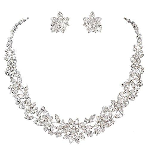 EVER FAITH� �sterreichischen Kristal Blume Blatt Hochzeit Schmuck-Set klar Silber-Ton