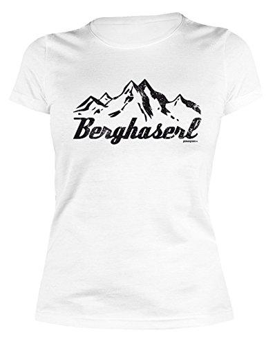 Wanderer Klettern Berg Wandern feminines Damen T-Shirt BERGHASERL Gebirge Bergsport Skifahrer Bekleidung Girl M�dchen Fun Shirt Gr. L : )
