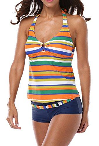 CharmLeaks Damen Neckholder Tankini Mehrfarbig Streifen Two-Piece Mit Hotpants Gelb 40