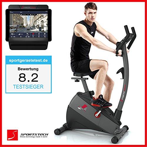 Sportstech Ergometer EX500 mit Smartphone App Steuerung + Google Street View Lauf + 5,5 Zoll Display, 12KG Schwungmasse, Pulsgurt kompatibel - Fitness Bike Heimtrainer mit fl�sterleisem Riemenantrieb