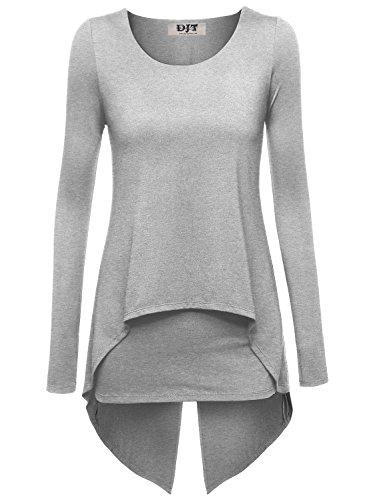 DJT Damen Langarmshirt Rundkragen Asymmetrisch Faux Twinset T-Shirt Hellgrau S