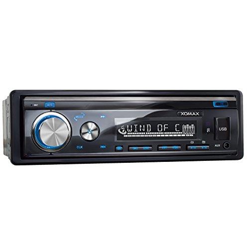XOMAX XM-RSU253BT Autoradio mit Bluetooth Freisprechfunktion + USB Anschluss (bis 128 GB) & SD Kartenslot (bis 128 GB) f�r MP3 und WMA + AUX-IN + Verk�rzte Einbautiefe + Single DIN (1 DIN) Standard Einbaugr��e + abnehmbares Bedienteil + inkl. Einbaurahmen und Fernbedienung + Beleuchtungsfarbe: blau