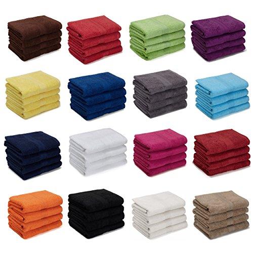 4er Pack zum Sparpreis, Frottier Handtuch-Serie - in 5 Gr��en und 16 Farben 100% Baumwolle 500 g/m�, 4er Pack Handt�cher (50x100 cm) in Schokobraun