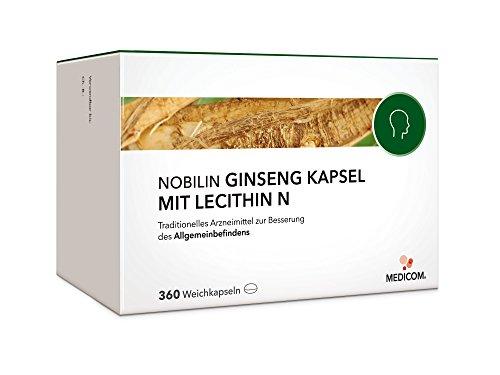 NOBILIN GINSENG MIT LECITHIN N - 360 Kapseln hochdosiert mit Ginsengwurzel-Pulver Extrakt, St�rkungsmittel, Vitamin-E