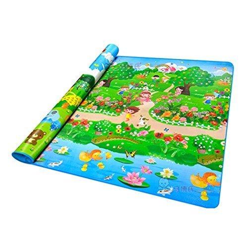 Yoliki Spielzeug Krabbeldecke Baby Spieldecke Tierwelt Sommer Wald Wasserdichte Spielmatte Kinder Paradies 200x180cm Spielbogen
