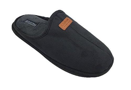 Herren Hausschuhe Pantoffeln Slipper aus w�rmendem Fleece Farben grau und schwarz Gr. 40 - 47 (43, grau)