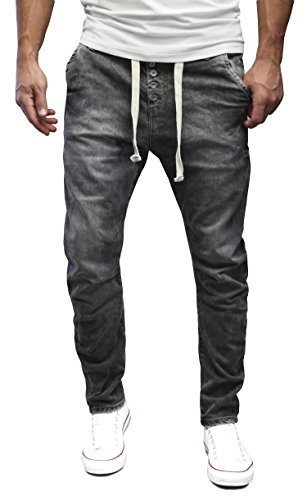 MERISH Herren Jeanshose Denim Chino Trend Sportlook Jeans Hose Neu J718 Anthrazit 33/32