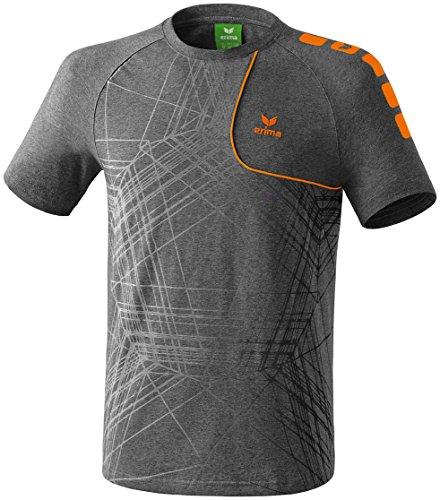 erima Herren T-Shirt Player 3.0, Grau Melange/Orange, L, 608501
