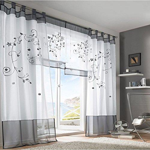 Souarts Grau Stickerei Transparent Gardine Vorhang Schlaufenschal Deko f�r Wohnzimmer Schlafzimmer Studierzimmer 140cmx245cm Nur Ein Schlaufenschal Ohne Raffgardinen