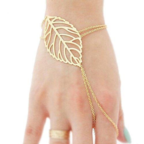 Sunnywill Mode Frauen hohle Bl�tter Finger Ring Sklave Kette Gold Armreif