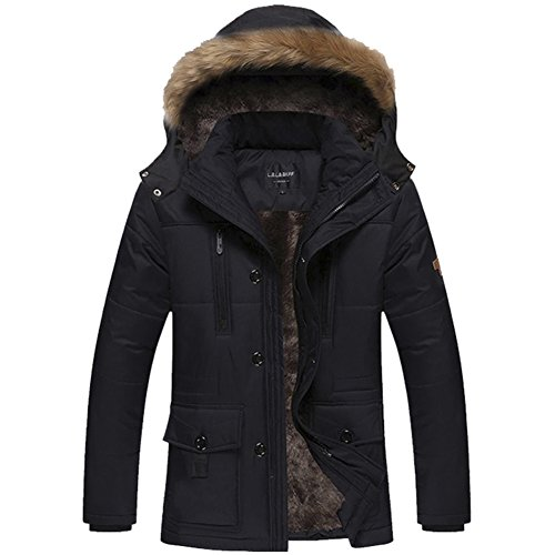 M.Baxter Herren verdickte Parka mit Futter + abnehmbare Fellkapuzte Warm Winterjacke Wintermantel Jacket Winter Herrenmantel Wintermantel �bergr��e Mantel Jacke M�nner