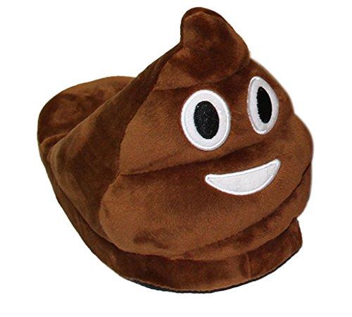 Minetom Unisex Herren und Damen Emoji Hausschuhe Winter Hausschuhe Cartoon Pl�sch Hause Pantoffeln Braun EU 42