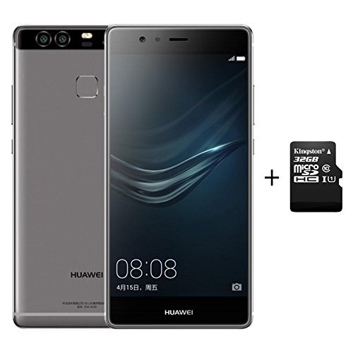 Huawei P9 3GB RAM 32GB ROM Smartphone Grau + 32G C10 SD Memory Card Combo 4G LTE Dual SIM Full Active Android 6.0 Octa Core 2.5GHz 5.2 inch FHD 8+2*12MP DSFA